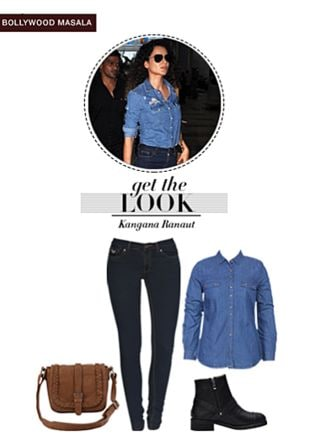 Blue Shirts, Brown Sling Bags, Black Boots with Blue Jeans. Online shopping look by pavani