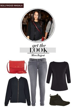Black Tees, Grey Jeans, Black Jackets, Red Sling Bags with Black Sports Shoes & Sneakers. Online shopping look by Rina Walia S