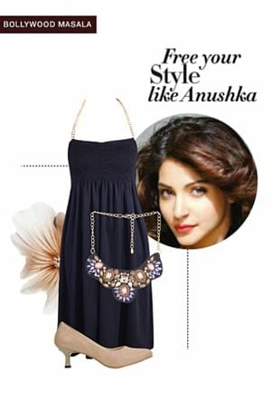 Black Dresses, Beige Pumps with Purple Necklaces. Online shopping look by Rina Walia S