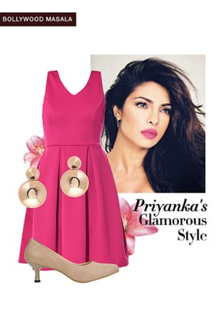 Pink Dresses, Gold Earrings with Beige Pumps. Online shopping look by gurkiran
