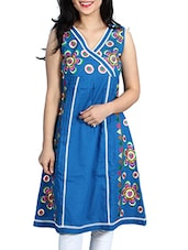 Blue Colored Printed Cotton Kurta - By