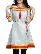 White- Orange- Yellow Colored Printed Embroidered Cotton Kurti With Pin Tucks - By - 10002953