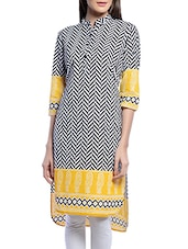 Black & White Printed Cotton Kurta - By