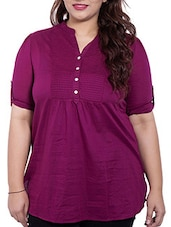 Magenta Colored Cotton Top With Pin Tucks - By