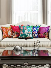SEJ Abstract Multicolor   HD Digital Premium 16 By 16 INCH Cushion Cover (Set Of 5)(SBCCDP0115P) - By