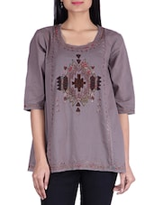 Grey Cotton  Top - By