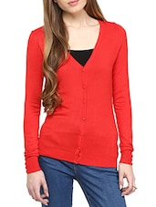 Red Acrylic Cardigan - By