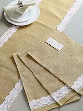 Jute Table Runner With 6 Pcs Placemats With Lace Work - By