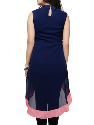 Blue poly georgette high low kurta - 10039863 - Standard Image - 3