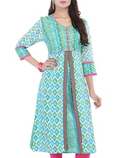 Green And Pink Cotton  Kurta - By