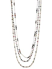 Multi Colored Metal Alloy, Acrylic Beads Long  Necklace - By