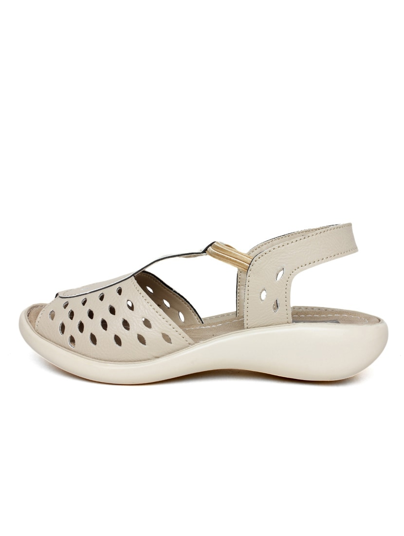 Buy Cream Leatherette Sandal By Vendoz Online Shopping For Sandals Strape On 10093016 Zoom Image 3