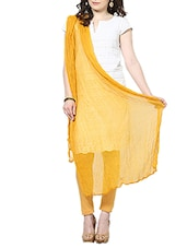 Mango Yellow Chiffon Plain  Dupatta - By
