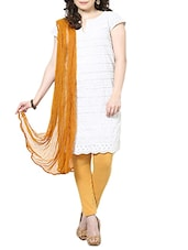 Dark Mustard Chiffon Plain  Dupatta - By
