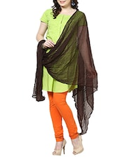 Coffee Chiffon Plain  Dupatta - By