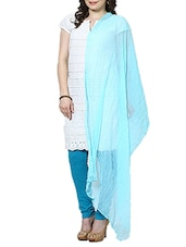 Dark Sky Blue Chiffon Plain  Dupatta - By