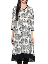 White Rayon Anarkali Kurta - By