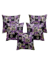 Story @ Home Purple Designer Digital Print Cushion Cover Set Of 5 Pcs - By
