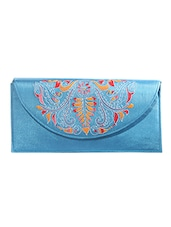 Turquoise Kantha Embroidered Fabric Sling Bag - By