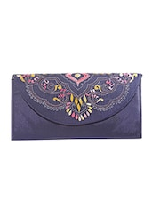 Dark Blue Kantha Embroidered Fabric Sling Bag - By