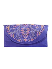 Blue Kantha Embroidered Fabric Sling Bag - By