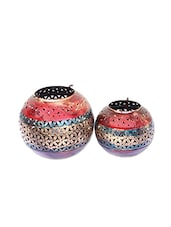 Craft Traditional Rajasthani Handicraft Unique Circular Metal Tealight Candle Holder Pair - By