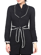 Black Cotton Polyester Lycra Pin Tucked Belted Shirt Dress - By