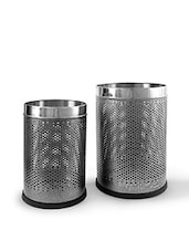 King International Stainless Steel Silver Open Perforated Dustbin 7 Ltr. & 10 Ltr / 8x12-10x14 - By