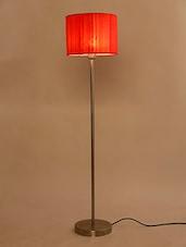 Lavish Orange Raw Silk Fabric Floor Lamp - By