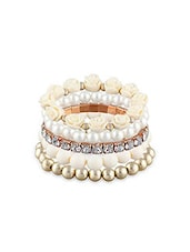 White Alloy, Pearl, Beads Bracelet - By