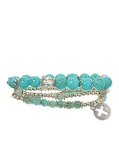 Turquoise Beads , Alloy Bracelet - By