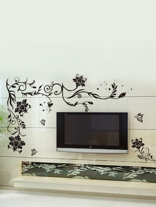 buy wall stickers for living room black large size floral vine