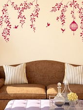 Wall Stickers Border Design Bedroom Hanging Vines With Cage And Birds Staircase Design In Lovely Pink - By