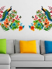 Wall Stickers Peacock Birds on Colourful Branch Leaves Wall Design Sofa Background Vinyl -  online shopping for Wall Decals & Stickers