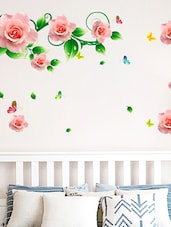 Wall Stickers Roses Vines And Motifs In Pink Romantic Bedroom Design Home Decoration Vinyl - By