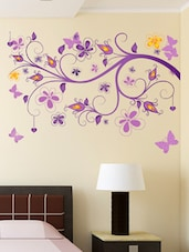 Wall Stickers Floral Vine Purple Beautiful Decorative Decal For Home Office And Living Room - By