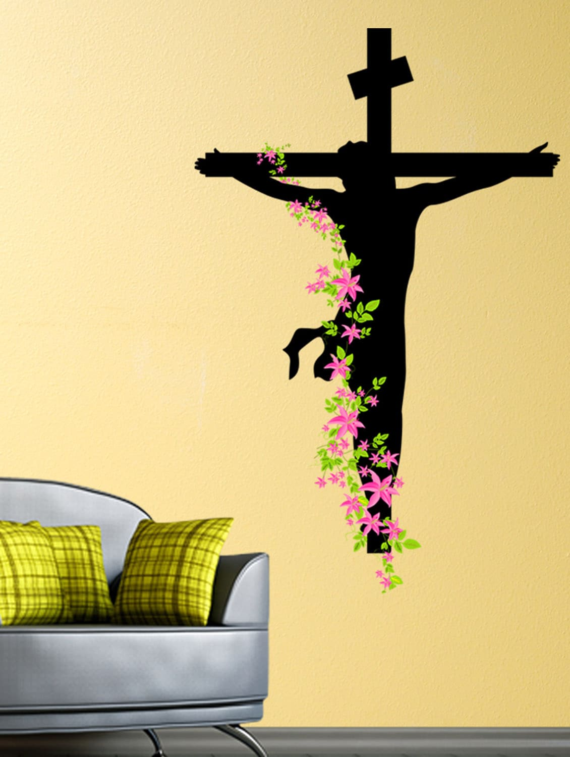 Buy Wall Stickers Jesus Christ Floral Decal Religion Christian Cross ...