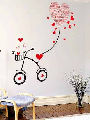 Wall Stickers Heart-shaped I Love You Kids Room Bicycle with String Decal Cute - 10357404 - Standard Image - 3