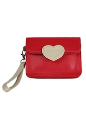 Red and Beige Faux Leather Wristlet -  online shopping for Purses
