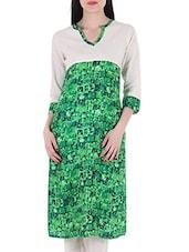 Green Rayon Regular Kurta - By
