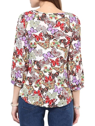 purple printed regular top - 10401663 - Standard Image - 3