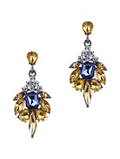 Blue, Gold Metal Alloy, Stone Earring - By