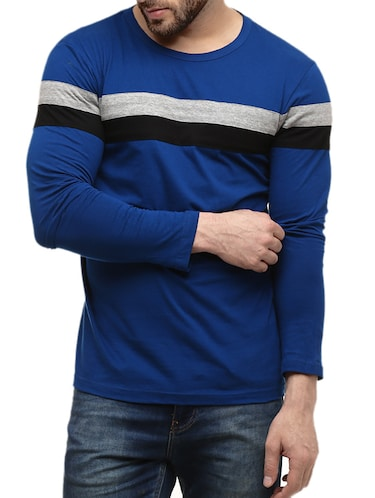 dark blue striped cotton t-shirt - 10420976 - Standard Image - 1