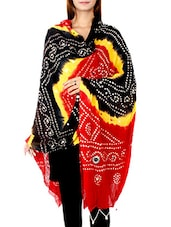 Black&red Cotton Dupatta - By