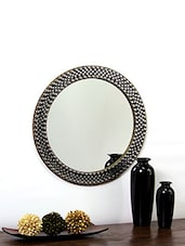 Hosley Decorative Metal Studded Round Wall Mirror - By
