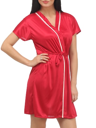 Red Plain Solid Satin Babydoll Nightwear Combo - 1058191 - Standard Image - 3