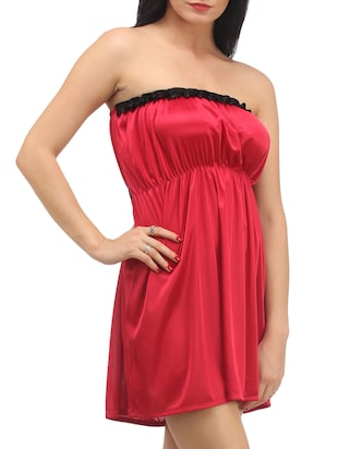 Red Plain Solid Satin Babydoll Nightwear Combo - 1058191 - Standard Image - 6