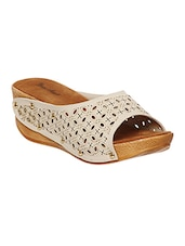 beige leatherette slip on wedges -  online shopping for wedges