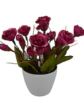 Artificial Small Dry Rose Flower Plant With White Pvc Pot -  online shopping for Flowers