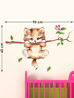 Krishna Modern Art And Catty On Branch Combo Wall Stickers - 10628264 - Standard Image - 3